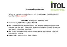Mistake No.6 from our 50 Mistakes Coaches Can Make!