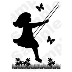 Vintage Swinging Girl Black Silhouette Baby Nursery Wall Mural Stickers Decals | eBay