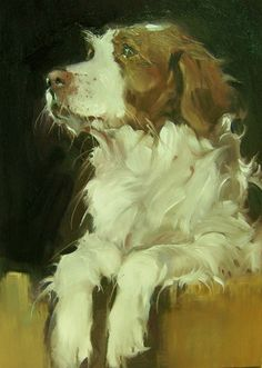 The Dog In The Window, painting by artist Kim Roberti------------------LOOKS LIKE CARLEY THE WONDER DOG