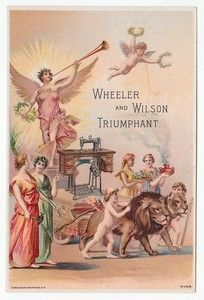 Angels and Lions on Trade Card for Wheeler Wilson Mfg Co Sewing Machine 4921 | eBay