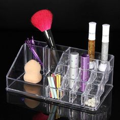 New Makeup Organizer Chic Cosmetic Jewelry Case Lipstick Brush Insert Holder Box  Sale #Affiliate