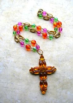 Colorful Bold Cross Necklace by 2VintageGypsies on Etsy, $22.00