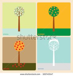 Single tree through the seasons. Retro design of four seasons: spring, summer, autumn and winter. by David Darko, via ShutterStock
