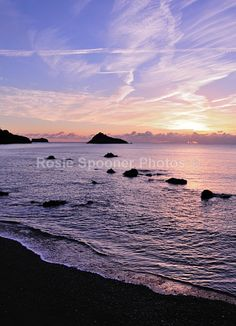TQ22 Torquay Greeting Card - Sunrise at Meadfoot Beach Portrait - Greetings Cards