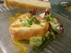 @PlanetProduce we R loving #livingwiththechef Salmon wrapped Seafood Terrine, Saffron Coulis, Baked Focaccia with WestlandsWow Red Amaranth & Micro Celery