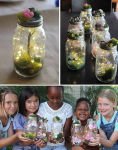 Kids Learn to Make Their Own Light-Up Fairy Jars (close-up) by Brenda Ponnay for. Kids Learn to Ma Fairy Birthday Party, Garden Birthday, Birthday Party Themes, 4th Birthday, Birthday Party Centerpieces, Birthday Ideas, Baby Shower Ideas For Girls Themes, Fairy Baby Showers, Pot Mason