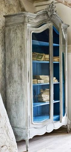 Distressed French Painted Armoire by Annie Sloan. - I love the blue interior paint! Paint colors used and steps taken to get this finish and on the post.