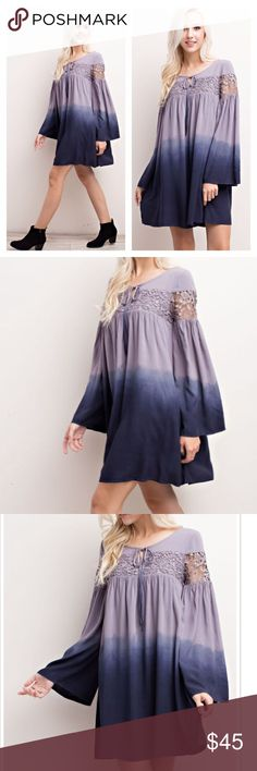 Ombre Lace detail Dress Stunning Ombre Dress with Lace detail!                           Estimated ship date is 11-10 Boutique Dresses