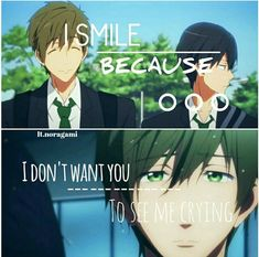 Poor Makoto. He's so sad but he acts happy because he doesn't want Haru to know that he's so sad.
