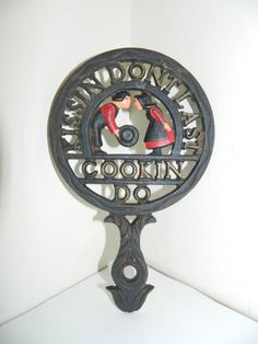 Vintage Wilton Cast Iron Trivet Kissin Dont Last by AbsoluteUsed, $19.99