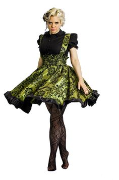 617bc99e516 Items similar to Plus Size Gothic Lolita Dress Lime Green Flocked Taffeta - Custom to your size 3X-5X on Etsy