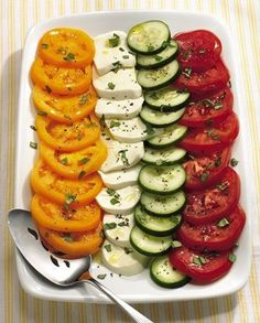 Cucumber and Tomato Salad Caprese 1 large red tomato, sliced 1 large yellow tomato, sliced 1 medium cucumber, sliced 8 oz. fresh mozzarella cheese, sliced 2 tablespoons extra-virgin olive oil 1 tablespoon lemon juice 1/8 teaspoon salt 1/8 teaspoon freshly ground black pepper 1/3 cup coarsely chopped fresh basil or lemon basil platter, arrange tomato, cucumber and mozzarella slices overlapping in a single layer. bowl, combine oil, lemon juice, salt and pepper; Sprinkle with basil.