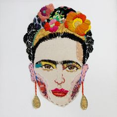 portrait of mexican artist, Frida khaloPersonal Work Hand Embroidery Patterns, Embroidery Art, Cross Stitch Embroidery, Hand Kunst, Textiles Techniques, Mexican Artists, Sewing Art, Hand Art, Recycled Art