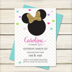 Minnie Mouse Birthday Invitation // Minnie Mouse by papernoteandco