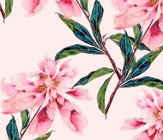 Pink Peonies fabric by gabbymalpas on Spoonflower - custom fabric
