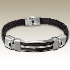 Dark Brown Braided Leather and Stainless Steel Bracelet with Black Cable Inlay http://lily316.com.au/shop/bracelets-mens-stainless-steel/dark-brown-leather-stainless-steel-and-cable-bracelet/