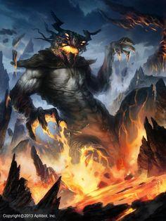 Artist: Mateja Petkovic - Title: Unknown - Card: Demon Beneath the Flames (Firesea)