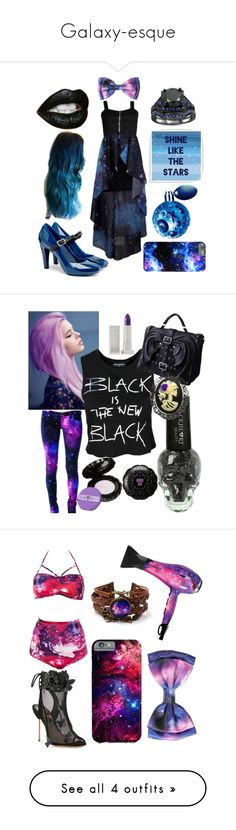 """Galaxy-esque"" by mandy-arsenyk-sharp ❤ liked on Polyvore featuring Green Leaf Art, Thierry Mugler, UN United Nude, Hot Topic, Blue, galaxy, contestentry, Sally&Circle, Anna Sui and Lipstick Queen"