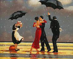 Gli amanti animazione ballare sotto la pioggia con gli ombrelli e servitori stanno cercando di nasconderle dalla pioggia, SIFCO amanti della danza sotto la pioggia con gli ombrelli e servi stanno cercando di nasconderle dalla pioggia