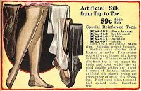 1. By the 1920s stockings with patterns were hot fashion items. Flesh and soft pastel colors were popular and they were made in either silk or artificial silk known as art silk later called rayon. The rayon stockings were very shiny so girls powdered their legs to dull them before venturing out. Lastex, a rubber based thread was used in knee highs in bright colors.