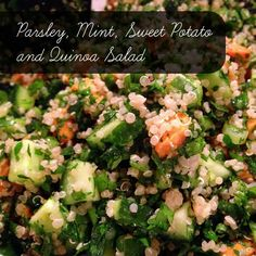 Parsley, Mint, Sweet Potato and Quinoa Salad Quinoa Salad, Parsley, Broccoli, Sweet Potato, Potatoes, Mint, Tasty, Vegetables, Cooking