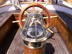 A binnacle, formely BITTACLE is a waist-high case (originally wooden box) or stand on the deck of a ship, generally mounted in front of the helmsman, in which navigational instruments are placed for easy and quick reference as well as to protect the delicate instruments.