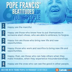 Infographic: Pope Francis' 6 beatitudes for young people