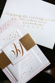 Wedding. White Gold Blush Wedding Invitation Speckled and Geometric Gold Accent Wedding Invitation.
