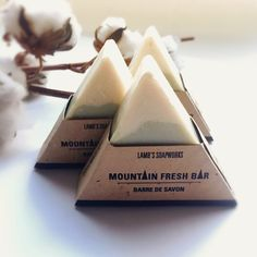 Mountain shaped soap bars with a refreshing essential oil blend. Coloured naturally with indigo powder and packaged in plantable seed paper. soap packaging Mountain Soap Bar in Seed Paper - Lamb's Soapworks Handmade Soap Packaging, Handmade Soaps, Paper Packaging, Seed Packaging, Handmade Pottery, Soap Packing, Savon Soap, Seed Paper, Homemade Soap Recipes