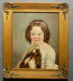 """Oil on canvas portrait of a young girl, 19th c., Rachel Alexander with her King Charles spaniel. 17.5""""x14.25"""""""