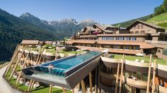 South Tyrol Italy - Huberos Hotel - The Infinity Pool Has A Glass Bottom & Hangs 40 Ft Above The Ground - Panoramic views of Dolomites Infinity Pools, Infinity Edge Pool, Spa Hotel, Hotel Pool, Have A Great Vacation, Great Vacations, Glass Bottom Pool, Haciendas, Design Hotel