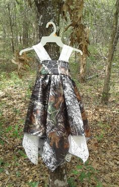 Beauiful handkerchief dress Made with Mossy Oak Break Up Satin Camo fabric& Ivory Lace. Choose your color of camo. Other lace available by camoandcountrycuties on Etsy