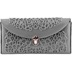 Medusa Clutch Bag - Grey ($148) ❤ liked on Polyvore