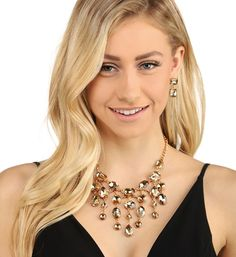 Champagne Gem Fringe Necklace