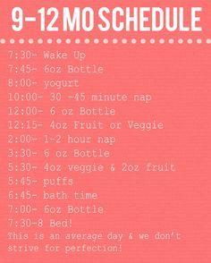 12 Months Baby Schedule | Baby Schedules | Pinterest