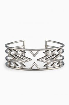 Edgy and cool, the Fontaine Cuff is the perfect cuff bracelet to dress up or down. Shop pave cuff bracelets at Stella & Dot.