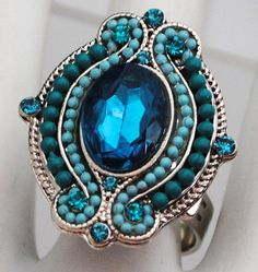 Beaded turquoise cocktail ring oval adjustable under 15 USD statement jewelry gift on Etsy, $12.00