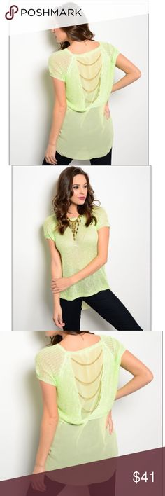 Lime High-Low Chiffon Top w/Chains Slub knit top features short sleeves, cascading chain detail on back, and chiffon high-low hem. 100% viscose lining, 100% polyester. Tops