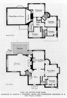 First and Second Floor plans of the Charles E.Chambers Residence, Fieldston, New York ARCHI/MAPS : Photo