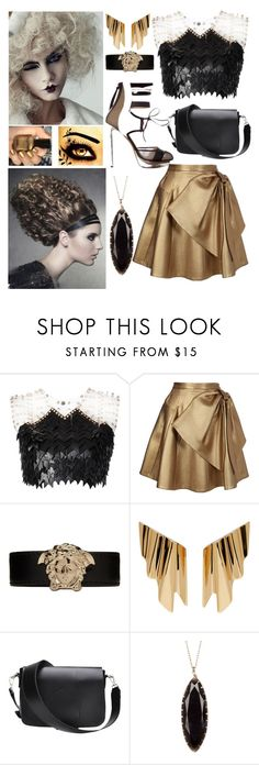 """Flare Harddust"" by andromeda07 ❤ liked on Polyvore featuring Jane Bowler, Nicholas Kirkwood, Dice Kayek, Versace, Yves Saint Laurent and 14th & Union"