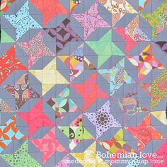 Bohemian Love - spinning half square triangles Scrappy way to do friendship star Star Quilt Patterns, Star Quilts, Scrappy Quilts, Easy Quilts, Quilt Blocks, Block Patterns, Star Blocks, Half Square Triangle Quilts, Square Quilt