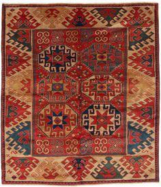 "Caucasian Kazak Rug: Bordjalou Kazak Rug with Guls Size: 4' 10"" x 5' 5"""