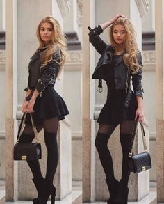 cute yet edgy biker look
