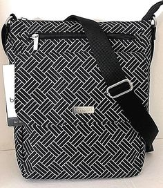65c5c878f5 NEW BAGGALLINI TOWN BAGG Black  amp  White Crossbody Shoulder Bag Front  Pockets  Baggallini