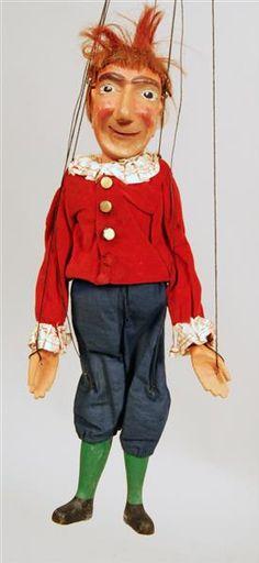 """Marionette created by Carl Teumer, 1920/30s, """"Kasper"""" man with red hair, Staatliche Kunstsammlungen Dresden."""