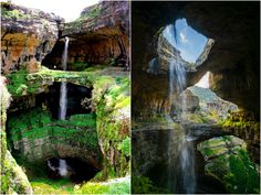 """Lebanon's Baatara Gorge Waterfall plummets 837 feet behind the """"Three Bridges Chasm,"""" before disappearing into a limestone cave and then re-emerging as a spring in nearby Tannourine."""