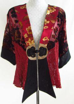 SPENCER ALEXIS M Red Floral Velvet Burnout Lace Asian Kimono Jacket Open Front