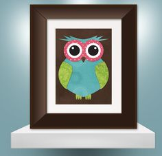 "Darling Turquoise, Green and Pink Blue Owl Print - 8""x10"" with Mat. $24.00, via Etsy."