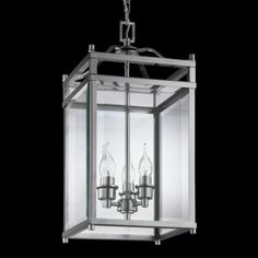 SMALL SQUARE GLASS CHANDELIER LANTERN