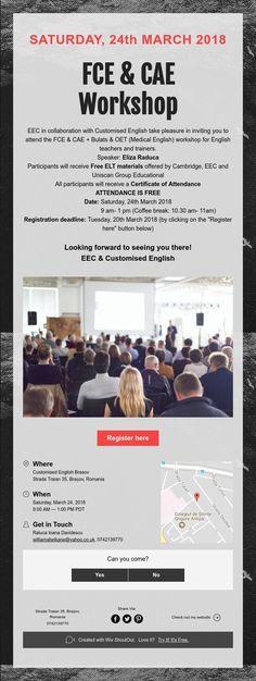 SATURDAY, 24th MARCH 2018       FCE & CAE    Workshop